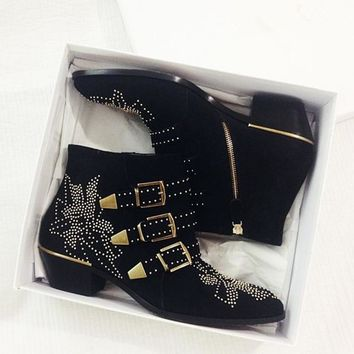 Susanna Rivets Embroidered Black Leather Ankle Boots Med Chunky Heel Celebrity Fashion Floral Batas Women Studded Shoes