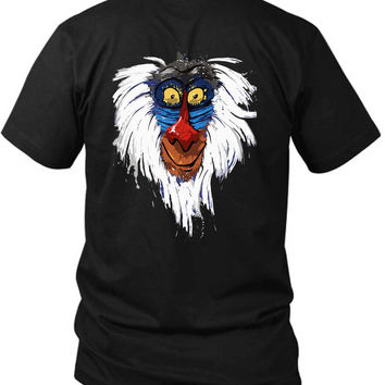 The Lion King Rafiki 2 Sided Black Mens T Shirt
