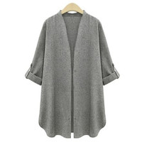 Fashion Women Grey Blazer Suit  Autumn Winter Cardigan Jacket Coat Outwear Plus Size XL-XXXXXL = 1667556164
