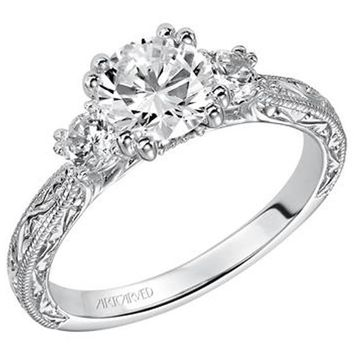 "Artcarved ""Anabelle"" Three Stone Diamond Engagement Ring Featuring Engraved Shank"