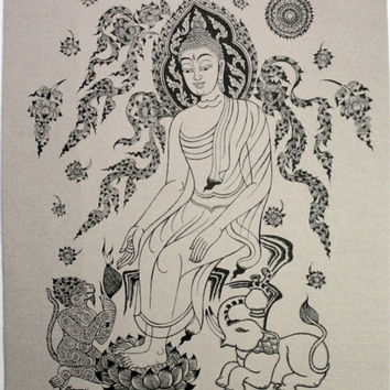 "The Buddha, Elephant & Monkey (""Madhu Purnima"") Wall Hanging Sketch /Batik, silkscreen print on a natural cotton fabric - symbol of Harmony"