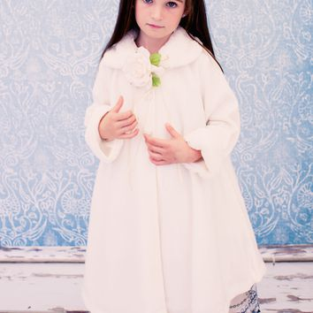 Ivory Fleece & Fur Trim Tea Length Dress Coat (Girls Sz 2T to 12)