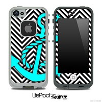 White/Black V2 Colored Chevron and Turquoise Anchor Skin for the iPhone 5 or 4/4s LifeProof Case