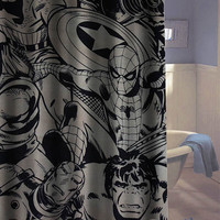 marvel super heroes comics characters shower curtains