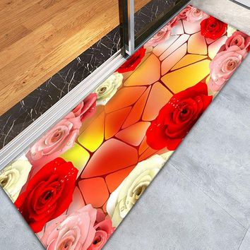 3D Rose Geometric Pattern Skidproof Bathroom Rug