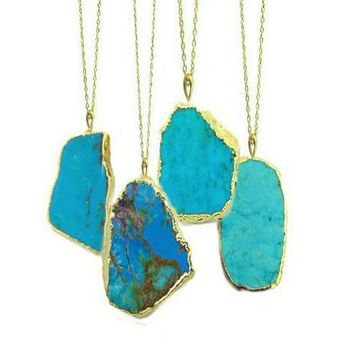Turquoise Necklace, Gifts For Her, Boho Necklace, One of a Kind Gifts,Turquoise Jewellery, Boho Jewellery, Long Gold Necklace Long Turquoise