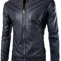jeansian Men's Cool Stand-Collar Leather Jacket Coat 9362
