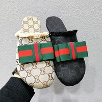 Gucci Summer Stylish Women Comfortable Canvas Red Green Stripe Bowknot Half Sandal Slippers Shoe