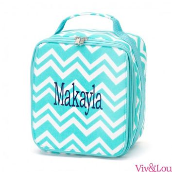 Aqua Chevron Lunch Bag