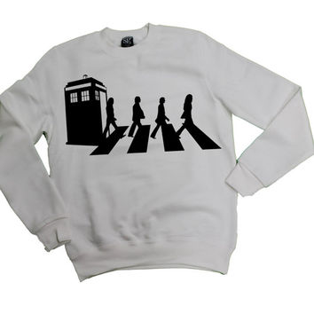 Tardis on Abbey Road Beatles Dr Who Sweater sweatshirt