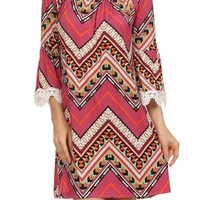 Zig-Zag Printed Shift Dress/Tunic Top