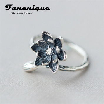 925 Sterling Silver Lotus Flower Ring Adjustable Size Antique Chinese Silver Jewelry Freeshipping