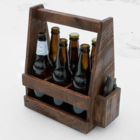 Beer Caddy - Wooden Beer Carrier - Wooden 6 Pack Carrier - Beer Carrier - Home Brewing - Fish Bottle Opener - Homemade Beer - 6 Pack Holder