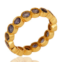18K Gold Plated Sterling Silver Iolite Ring Gemstone Band