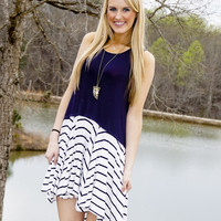 Sleeveless Dress with Stripe Detail Navy/Off White
