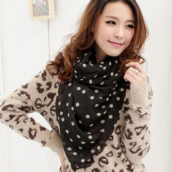 Hot Fashion 160*40cm Female Polka Dots Scarf Shawl Neck Wrap Headscarf Chiffon Print Scarves Women Accessory Spring Autumn Scarf