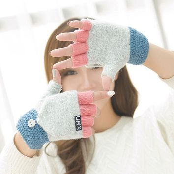 Fashion Winter Women Clamshell Acrylic Fingerless Gloves Multifunctional Cute Warm Patchwork Mittens for Students gants femme