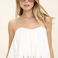 Festival Queen White Lace Strapless Crop Top