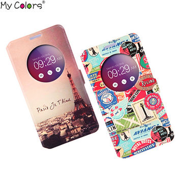 """For ASUS zenfone 2 ZE551ML ZE550ML 5.5"""" Luxury Flip With Stand Leather Case Intelligent Sleep Window View Phone Cover Case"""