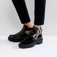 Boohoo Black Patent Boot With Buckle Detail at asos.com