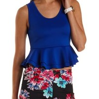 Sleeveless Double Peplum Crop Top by Charlotte Russe