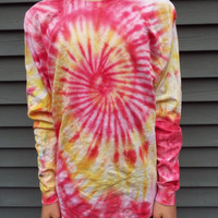Unisex Long Sleeve Tie-Dye Shirt with Bright Swirl of Orange, Red, Yellow; Adult Large TieDye Tshirt, hippie boho, retro 60s, mens, womens