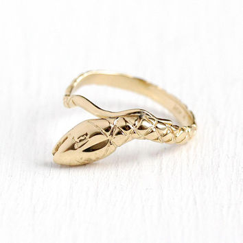 Vintage Snake Ring - Estate 14k Yellow Gold Figural Reptile Statement - Size 7 1/4 Unique Coiled Serpent Detailed Scales Modern Fine Jewelry