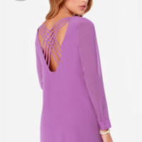 LULUS Exclusive Lattice Dance Orchid Purple Shift Dress