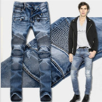 Men Ruffle Slim Pants Jeans [6528553731]