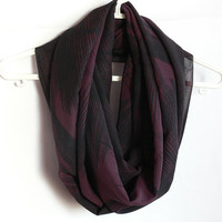 Purple Infinity Scarf. Black and Purple Scarf. Eternity Scarf. Circle Scarf. Women Accessory.