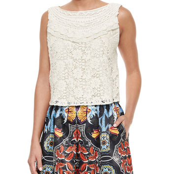 Finlay Fitted Sleeveless Crochet Top, Size: