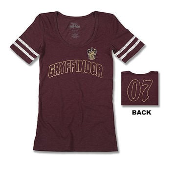 Gryffindor™ Ladies Striped Sleeves T-Shirt | Universal Orlando™