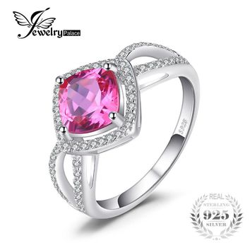 JewelryPalace Cushion 2.5ct Square Created Pink Sapphire 925 Sterling Silver Ring Wedding Fashion Brand Fine Jewelry For Women