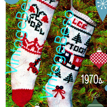 "Vintage Knit Christmas • ""Boy and Girl"" Stocking Patterns • DIGITAL PATTERN • 1970s Vintage Knitting Pattern • Embroidery Holiday Season"