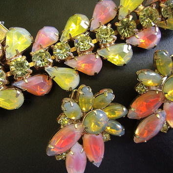 Peach Yellow Givre KRAMER NY Bracelet-Earrings Set, Opalescent, Tear Drop, Vintage