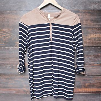 color block stripe 3/4 sleeve shirt