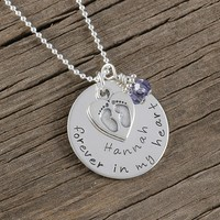 Forever in my heart - Personalized Remembrance Necklace - Engraved Sympathy Gift
