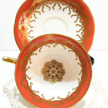 Aynsley Tea Cup and Saucer, Tuscan Orange, Gold Medallion & Lacy Gilding, English Bone China, 1950s, Vintage Tea Cup