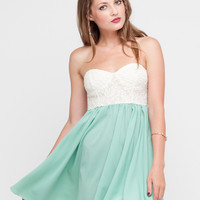 Motel Annali Strapless Cream Bustier Dress in Soft Green