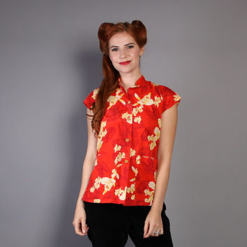 50s Hawaiian Tea Timer Blouse / Red & Yellow Tropical Print Floral TOP, s