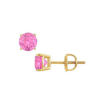 14K Yellow Gold : Prong Set Pink Sapphire Stud Earrings 1.00 CT TGW