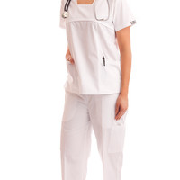 Women's White Embroidered Fitted Uniform Scrubs