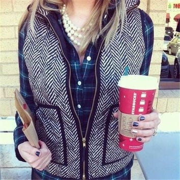 Cotton Textured Herringbone Quilted Puffer Vest
