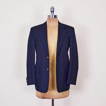 Navy Blue Blazer Jacket Navy Blazer Military Blazer Gold Crest Button Shrunken Tiny Fit Skinny Fit Boyfriend Blazer 80s XS Extra Small