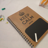 Recycled Spiral Notebook - 8.5x11 Journal (Keep Calm with Chalkboard)