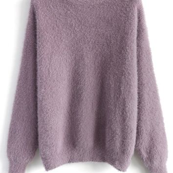 Comfy and Fluffy Jumper in Violet