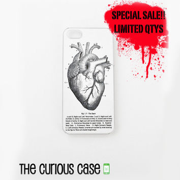 SALE - BLACK FRIDAY iPhone 5/5s Hard Case Clear Plastic Trim | Limited Quantities Vintage Medical Chart Atomical Heart