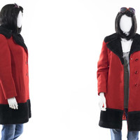 Vintage 60s MOD Peacoat Red and Black Faux Fur Jacket