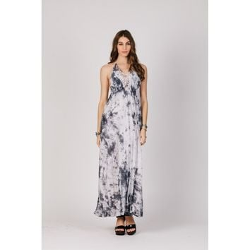 Maxi Dress With Halter Neck Tie With Elastic Waistline