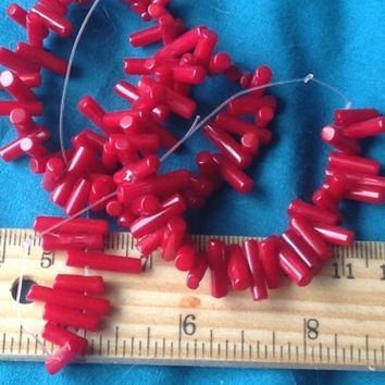 1 DAY SALE 7-15mm Red Coral Gemstone Stick Loose Beads Strand
